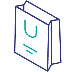 Second party data shopping bag icon
